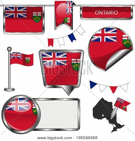 Glossy Icons With Flag Of Province Ontario