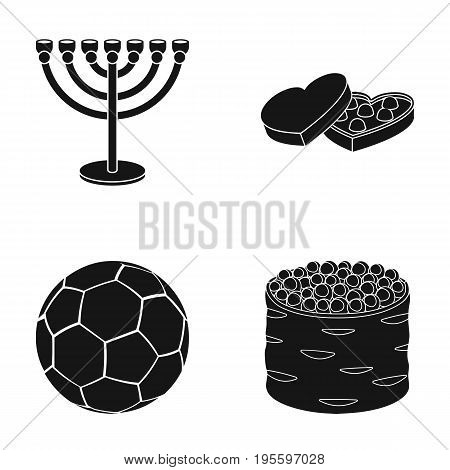 Minor, box of sweets and other  icon in black style.soccer ball, sushi icons in set collection.