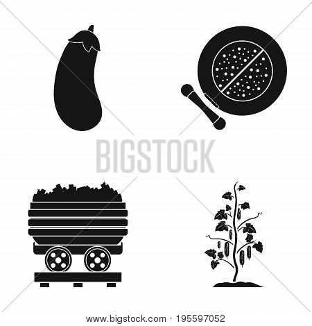 Eggplant, cucumber and other  icon in black style. makeup, trolley with charcoal icons in set collection.