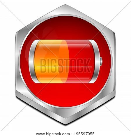 red orange Battery Button - 3D illustration
