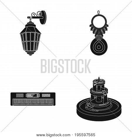Lantern, amulet and other  icon in black style. keyboard instrument, fountain icons in set collection.