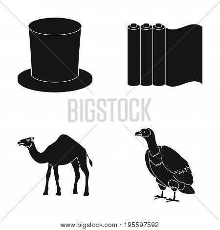 Hat, roll of paper and other  icon in black style. camel, griffin icons in set collection.