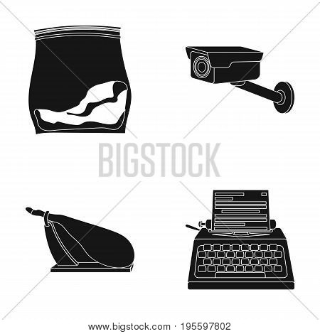 Package with drugs, surveillance camera and other  icon in black style. ham, typewriter icons in set collection.