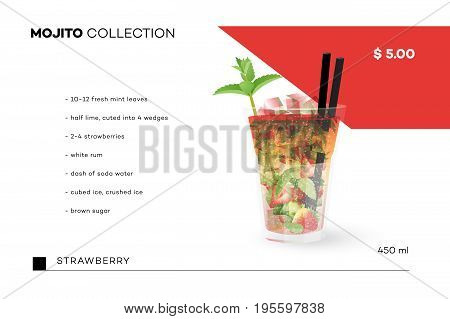 Mojito Collection. Vector Menu Template With Realistic Cocktail.