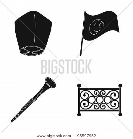 Air torch, flag of Turkey and other  icon in black style. clarinet, fence icons in set collection.