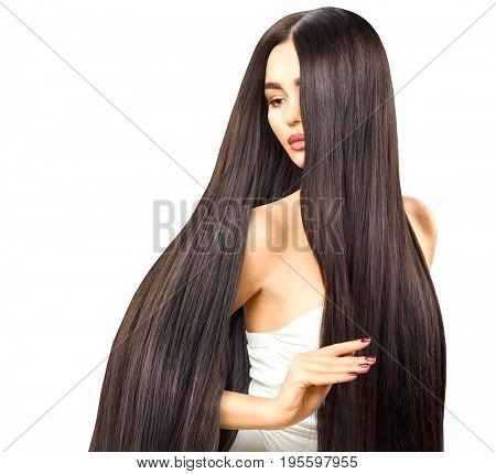 Beautiful long Hair. Beauty woman with luxurious straight brown hair isolated on white background. Sexy brunette Model girl touching Healthy Hair. Lady with long smooth shiny straight hair. Hairstyle