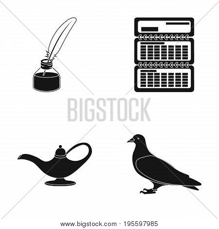 Inkwell, calendar and other  icon in black style. teapot, dove icons in set collection.