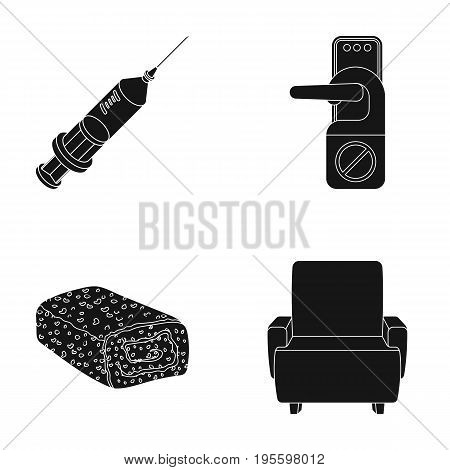 Syringe, door handle and other  icon in black style. chocolate roll, armchair icons in set collection.