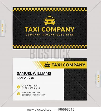 Business card design in black white and yellow colors. Vector template for taxi company and taxi driver.