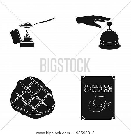 Making drugs, hotel bell and other  icon in black style. fried steak, western advertisement icons in set collection.