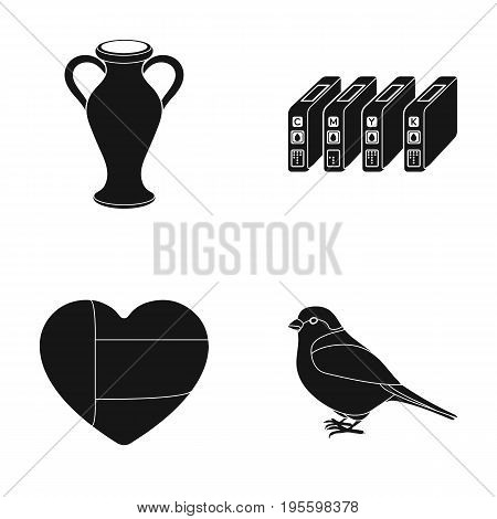 Amphora, cartridge and other  icon in black style.heart, sparrow icons in set collection.