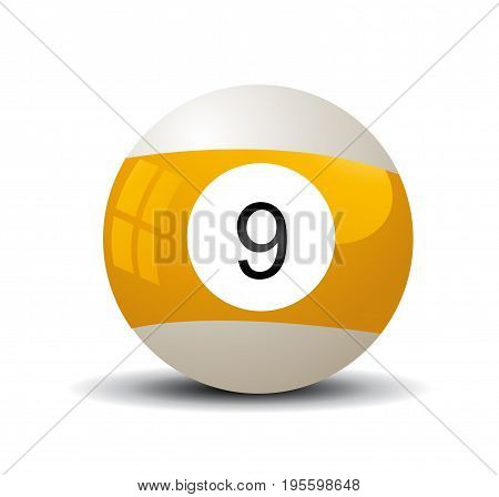 Colored Pool ball illustration on white background