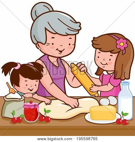 Grandmother cooking in the kitchen and her grandchildren helping her. Vector illustration