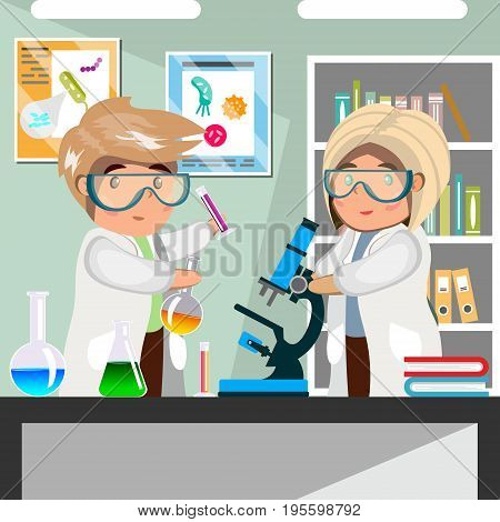 Vector illustration of scientists men and women working at science lab.