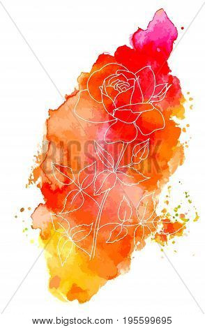 An ink drawing of a rose on a vibrant red and yellow texture, scalable vector graphic, a design element for a greeting card or a birthday invitation, with a place for text