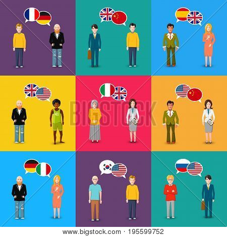 A lot of colourful characters with speech bubbles with different countries flags in flat design style, language study concept illustration
