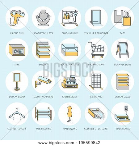 Retail store supplies flat line icons. Trade shop equipment signs. Commercial objects - cash register, basket, scales, shopping cart, shelving, display cases. Thin colored signs for warehouse store.