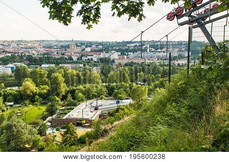 Lift station and cable car in Prague ZOO. Travel destination. Tourism theme.