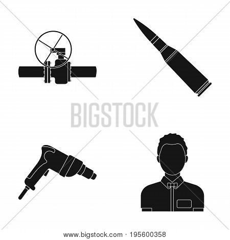 Gate valve, chuck and other  icon in black style.drill, male icons in set collection.