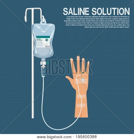isolated saline solution with hand on blue background
