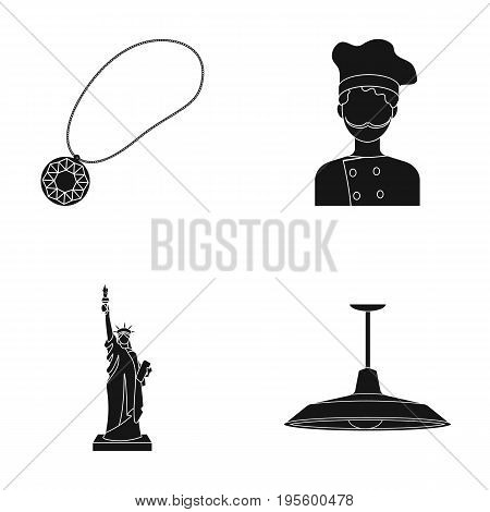 Medallion, Chef and other  icon in black style. Statue of Liberty, chandelier icons in set collection.