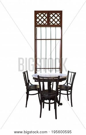 Wooden round table and chair chiness style near window isolated on white background