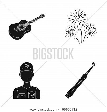 Guitar, salute and other  icon in black style. ecologist, toothbrush icons in set collection.