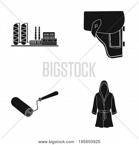 Plant, holster and other  icon in black style.construction roller, sportsman's robe icons in set collection.