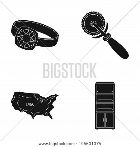 Ring, pizza cutter and other  icon in black style. USA territory, cupboard icons in set collection.