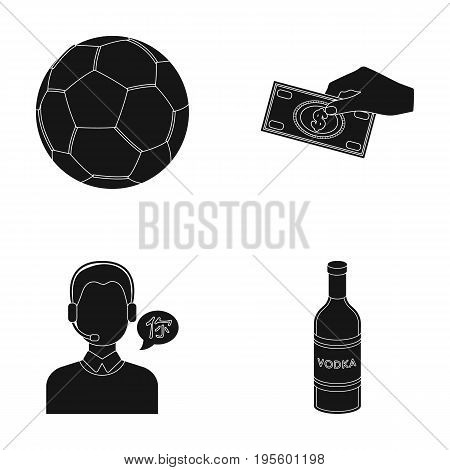 Soccer ball, money and other  icon in black style. translator, vodka icons in set collection.