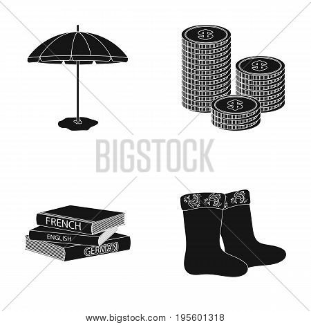 Beach umbrella, a stack of coins and other  icon in black style. dictionaries, felt boots icons in set collection.