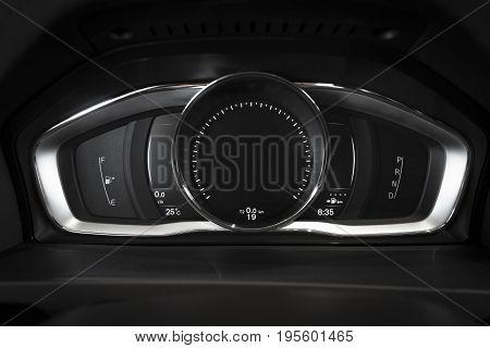 car interior dashboard details, emty screen, dark light