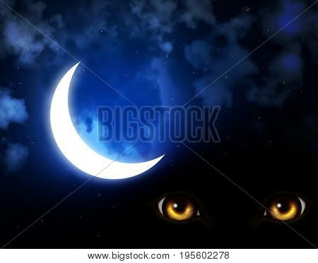 Dark series - horror in night. Yellow eyes of monster on night sky background with stars, clouds and crescent