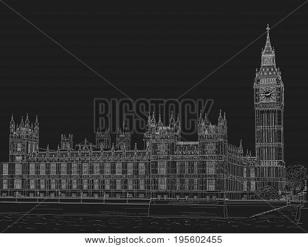 Sketch of the Palace of Westminster and Big Ben tower. Painted with chalk on black