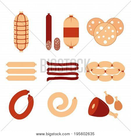 Variety of sausages and meat icons set vector flat design. Sausages isolated on white background stock vector.