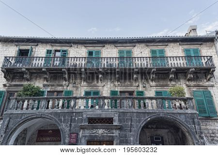 KOTOR MONTENEGRO - JUNE 27 2017: Pima Palace (XVII century) in Old Town Kotor Montenegro. Now there are various exhibitions