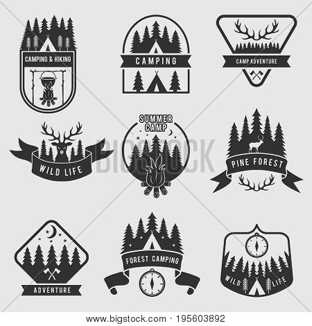 Outdoor camping labels set. Explorer monochrome badges. Adventure vector illustration. Black silhouette of forest, deer and tent. Adventure outdoor summer expedition and travel