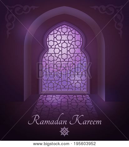 Arabic frames on traditional islamic door and window with ornament. Glossy moon on vector background. Ramadan kareem and window arabic illustration