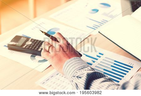 Occupation Financial Asian Young Man Calculate Statistics Number On Desk Home Office With Pressing B