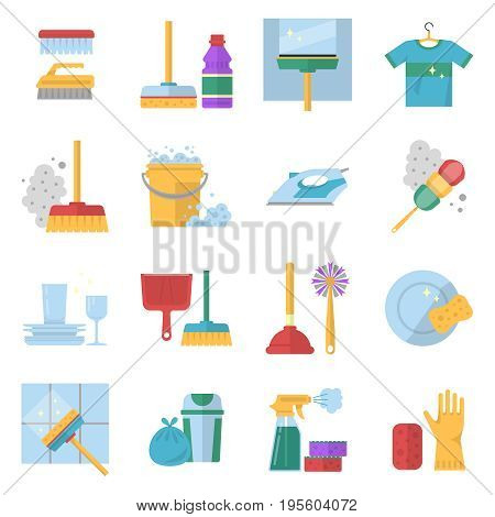 Cleaning service symbols. Different colored tools in cartoon style. Equipment for clean, bucket and mop, glove and sponge, brush and soap. Vector illustration