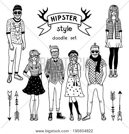 Hand drawn illustration of funky fashioned hipsters characters. Happy male and female. Vector monochrome pictures hipster man and woman
