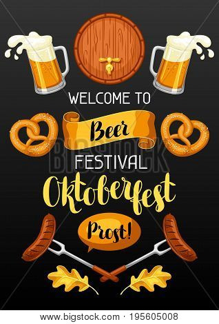 Oktoberfest. Welcome to beer festival. Invitation flyer or poster for feast.