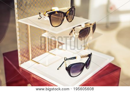 Sunglasses Fashion display in the Shop, Hipster Lifestyle
