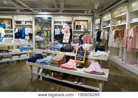 SEOUL, SOUTH KOREA - CIRCA JUNE, 2017: inside a clothing store in Seoul.