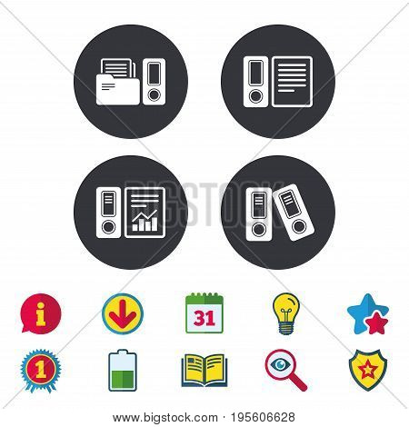 Accounting report icons. Document storage in folders sign symbols. Calendar, Information and Download signs. Stars, Award and Book icons. Light bulb, Shield and Search. Vector