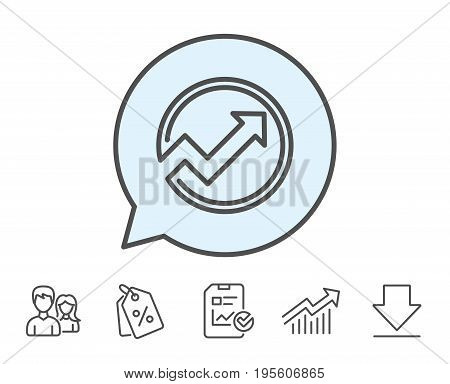 Chart line icon. Report graph or Sales growth sign in circle. Analysis and Statistics data symbol. Report, Sale Coupons and Chart line signs. Download, Group icons. Editable stroke. Vector
