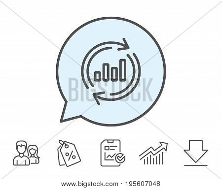 Chart line icon. Update Report graph or Sales growth sign. Analysis and Statistics data symbol. Report, Sale Coupons and Chart line signs. Download, Group icons. Editable stroke. Vector