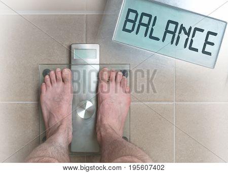 Man's Feet On Weight Scale - Balance
