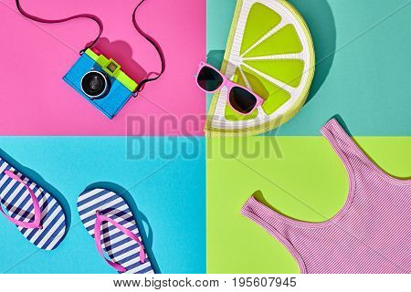 Fashion Film Camera, Retro Design. Summer Clothes Accessories Set. Pop Art Style. Glamor Lime Citrus Clutch, Trendy fashion Sunglasses. Hipster Beach Outfit. Hot summer color.Creative Bright Concept