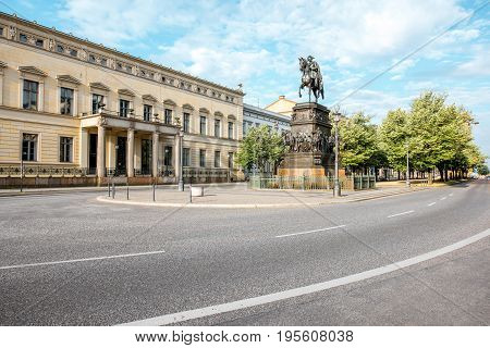 View on the Linden avenue with Frederick monument during the morning light in Berlin city